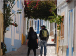 Walking in the narrow cobbled streets in Tavira